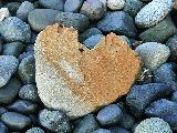 Immagine assieme Cuore di pietra sulla spiaggia assieme a ciottoli