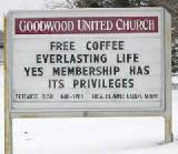 Immagine vita Insegna caffè gratis e vita eterna per chi si iscrive alla chiesa
