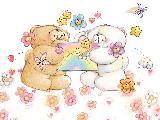 Immagine stelle Orsetti che si contendono una lettera tra fiori e stelle